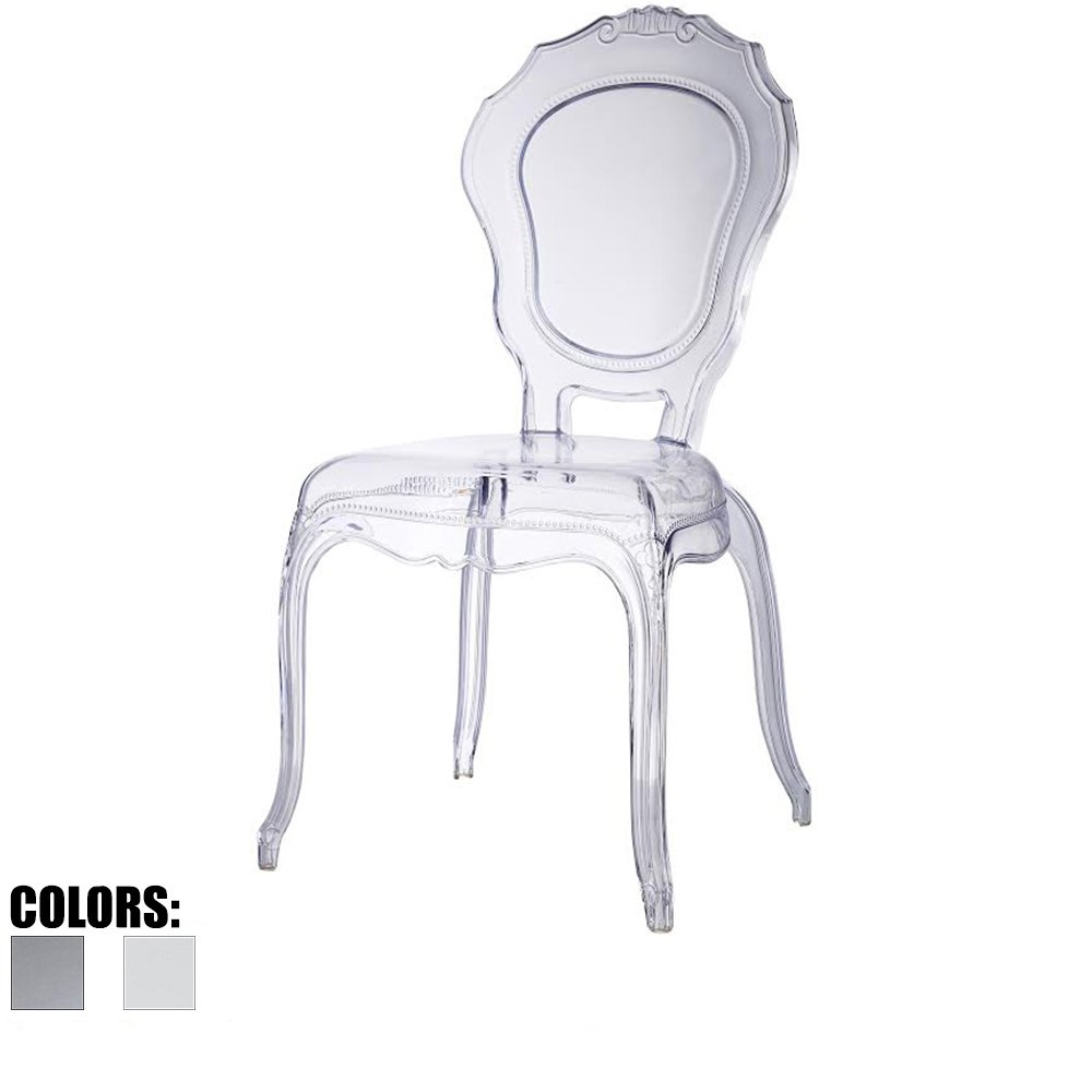 2xhome - Clear - Belle Style Ghost Side Chair Dining Room Chair - Clear Accent Seat - Lounge No Arm Arms Armless Less Chairs Seats Higher Fine Modern Designer Artistic