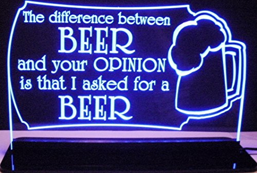 Beer Bar Sign Difference Opinion Acrylic Lighted Edge Lit 12