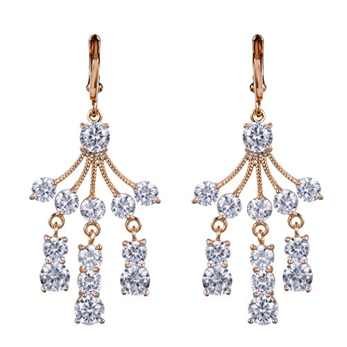 [Real Spark(TM) Women Girls 18K Gold Plated Clear Rhinestone Cluster Drop Wedding Earrings] (Diy Pageant Girl Costume)