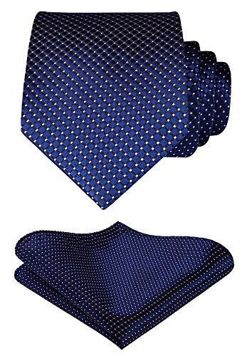 HISDERN Plaid Tie Handkerchief Woven Classic Stripe Men