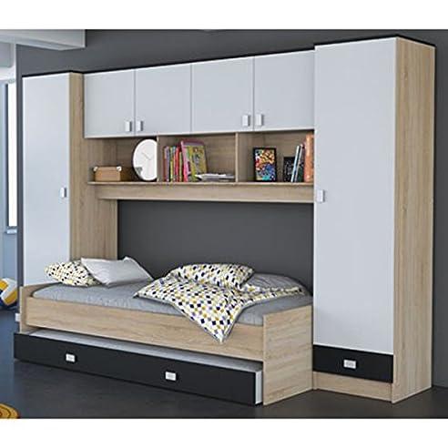 Schrankbett inkl Bettkasten grau / weiß / schwarz B 308 cm ...