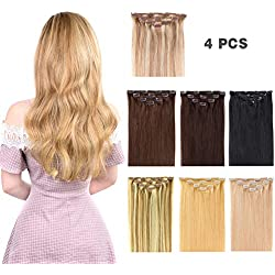 "12"" Clip in Hair Extensions Remy Human Hair for Women - Silky Straight Human Hair Clip in Extensions 50grams 4pieces #18-613 Color"