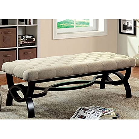 Ravalli Black Finish Fabric Padded Accent Bench Large