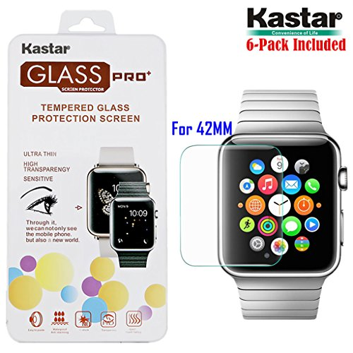 kastar-iwatch-42mm-screen-protector-6-pack-premium-tempered-crystal-clear-glass-screen-protector-for