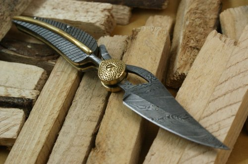 Knife-King-Baby-Blue-Custom-Damascus-Handmade-Folding-Knife-Comes-with-a-sheath