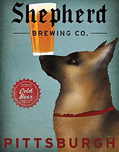 - Buyartforless Shepherd Brewing Co Pittsburgh by Ryan Fowler 14x11 German Shepherd Beer Signs Dogs Animals Art Print Poster Vintage Advertising Sign Loyal Guard Dogs