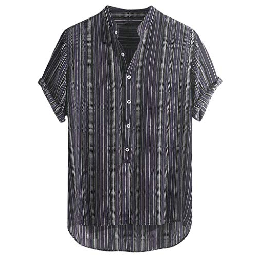Jamestown Oxford - Stoota Mens Summer Striped Buttons Breathable Short Sleeve Casual Henley Shirts Purple