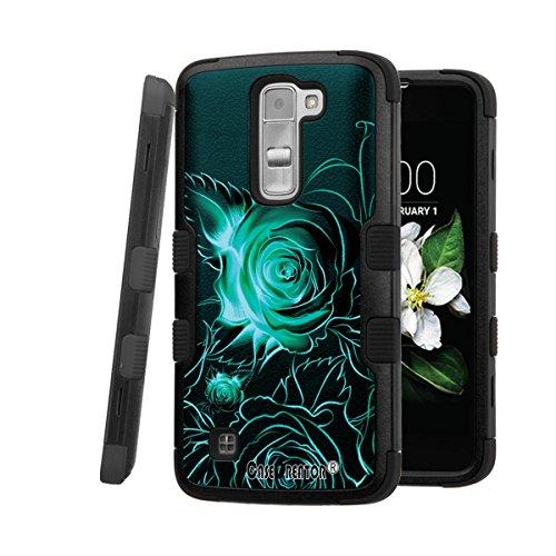 LG K7 Case, CASECREATOR[TM] For LG K7 / LG Tribute 5 (Sprint, MetroPCS, Boost Mobile)--NATURAL TUFF Hybrid Rubber Hard Snap-on Case Black Black-Blue ()