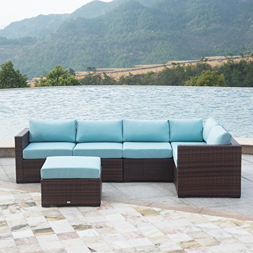 Auro Outdoor Furniture 6-Piece Sectional Sofa Set All-Weather Brown Wicker