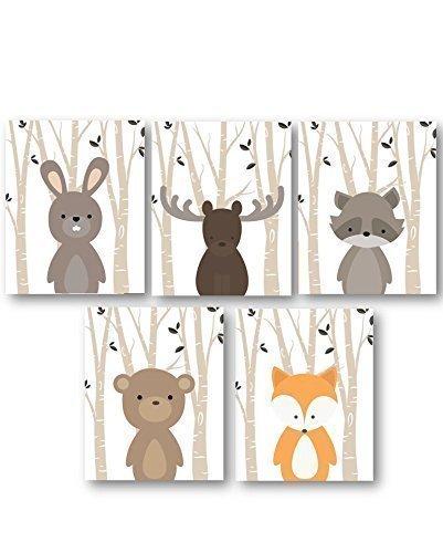 Baby Boy Nursery Art Woodland Animals Forest Animal Prints Set Of 5