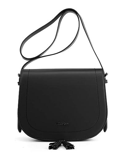 Miss CeCe Women s Saddle Bag Purses Crossbody Shoulder Bag with Flap Top    Tassel (Black fa7f0feeb2326