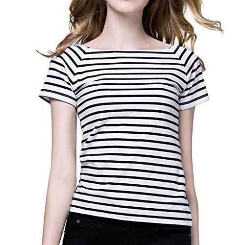 - Striped Shirt Women Stripes Tee Short Sleeve Boat Neck Tops for Women White M