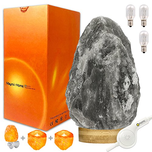 Rare Grey Gray White Black Authentic Himalayan Salt Lamp Lights Set (5-8 lbs 7-11'),Table Lamp...