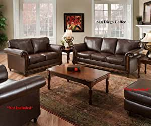 San Diego Coffee Leather Sofa Loveseat