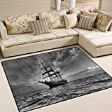 LORVIES Black and White Sailboat Area Rug Carpet Non-Slip Floor Mat Doormats for Living Room Bedroom 80 x 58 inches