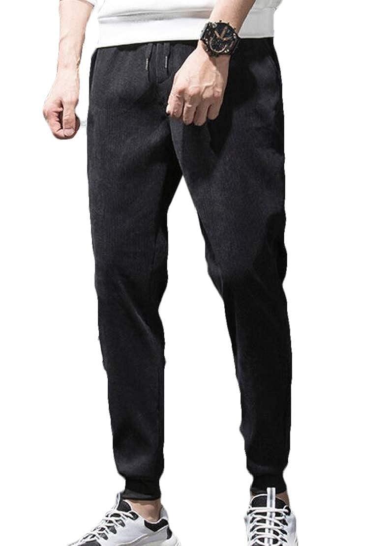 Frieed Mens Jogger Winter Elastic Waist Corduroy Fleece Linen Harem Pants
