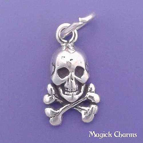 Sterling Silver SKULL And CROSSBONES Pirate Charm Miniature - elp1776 Jewelry Making Supply Pendant Bracelet DIY Crafting by Wholesale Charms (Skull Pirate Charm)