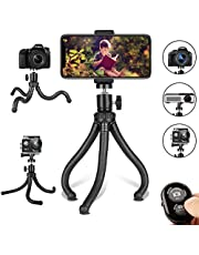 Phone Tripod, Flexible Cell Phone Tripod Adjustable Camera Stand Holder with Wireless Remote and Universal Clip 360° Rotating Mini Tripod Stand for iPhone, Samsung Android Phone, Sports Camera GoPro