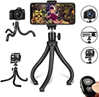 Flexible Cell Phone Tripod Adjustable Camera Stand Holder with Wireless Remote Control and Universal Clip 360° Rotating Portable Tripod for iPhone, Android Phone, Sports Camera GoPro