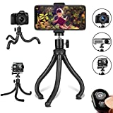 Phone Tripod, Flexible Cell Phone Tripod Adjustable Camera Stand Holder with Wireless Remote Control and Universal Clip 360° Rotating Portable Tripod for iPhone, Android Phone, Sports Camera GoPro