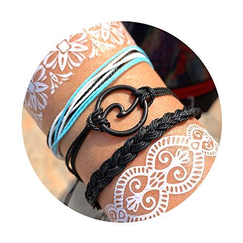 Long tiantian Vsco Braclets Ocean Wave Bracelet Adjustable 100% Waterproof Handmade Strand Braided Rope Friends String Anklet Bracelet Set for Women Girls