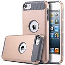 iPod Touch 6 Case, MCUK Dual Layer Hybrid Cover Silicone Rubber Skin Hard Combo Bumper High Quality Scratch-Resistant Case Fit For Apple iPod Touch 5 6th Generation (Champagne Gold/Grey)