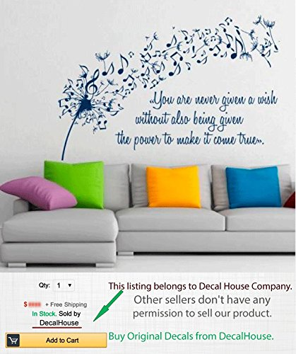 Floral Wall Decals Vinyl Decal Dandelion Sticker Flower Music Quote Musical  Notes Home Art Decor Kids