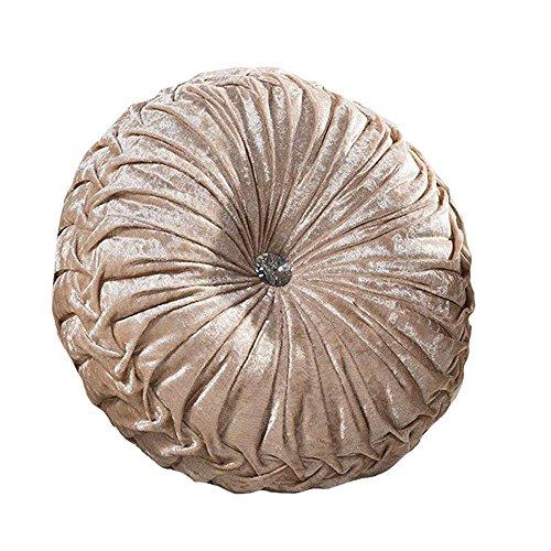 Zituop Home Decorative Round Pumpkin Throw Pillows, 13.8-inch (Beige)