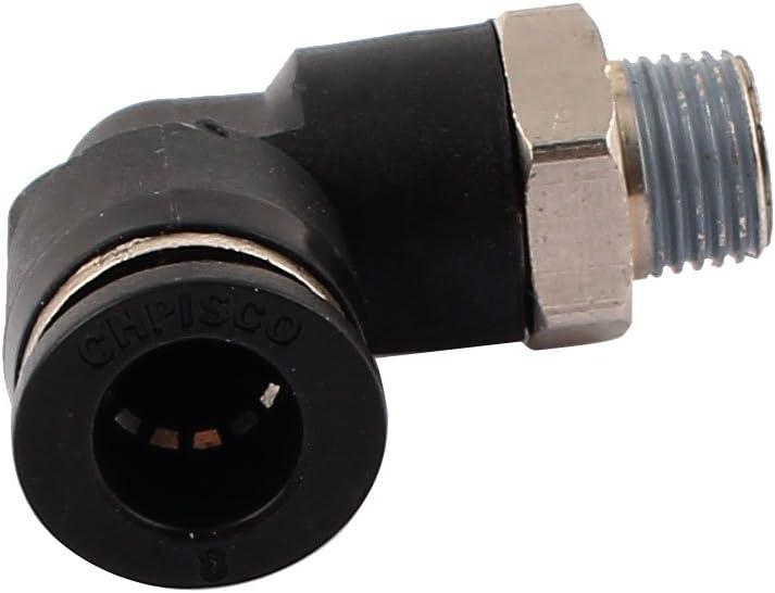 sourcingmap/® 1//8 Rosca Macho De 8 mm De Empuje En Forma De L Tubo Acodado Aire Racores R/ápidos