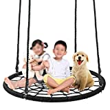 SUPER DEAL Largest 48'' Web Tree Swing Set - Extra Large Platform - 360 Rotate°- Adjustable Hanging Ropes - Attaches to Trees or Existing Swing Sets - for Multiple Kids or Adult