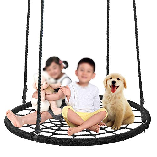 SUPER DEAL Largest 48 Web Tree Swing Set - Extra Large Platform - 360 Rotate°- Adjustable Hanging Ropes - Attaches to Trees or Existing Swing Sets - for Multiple Kids or Adult