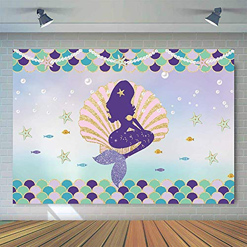 (Allenjoy 7x5ft Little Mermaid Birthday Party Backdrop Under The Sea Glittering Mermaid Scales Pearl Necklace Pink Seashell Purple Cake Table Banner Baby Girl Photography Background Photo Booth Props)