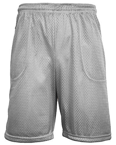 LA Gen Mens Athletic Mesh Shorts Pockets Plain Workout Jersey Basketball Gym Fitness (Medium, Heather (Baseball Drawstring Shorts)