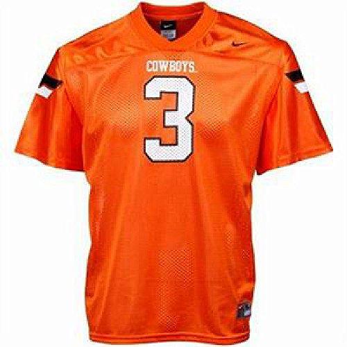 Oklahoma State Cowboys Replica Football Jersey (Oklahoma State #3 Adult Orange Nike Replica Football Jersey (S))
