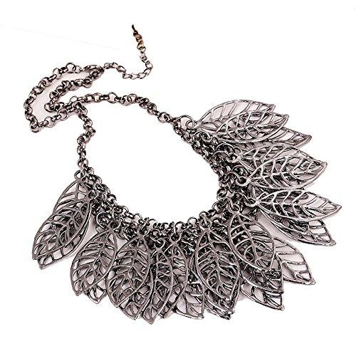 Grenf Fashion Retro Punk Magazine Carved Flower Necklace Hollow Metal Flower Leaf Tassel Necklace Pendant (Leaf - Black Silver)