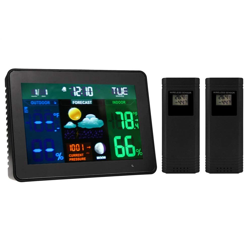 Traioy Temperature and Humidity Detector Weather Station LCD Display with Date Clock Snooze Alarm Function, Suitable for Indoor and Outdoor Monitoring Weather