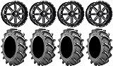 Bundle - 9 Items: Fuel Maverick Black 20'' Wheels 37x9.5 BKT 171 Tires [4x156 Bolt Pattern 3/8x24 Lug Kit]