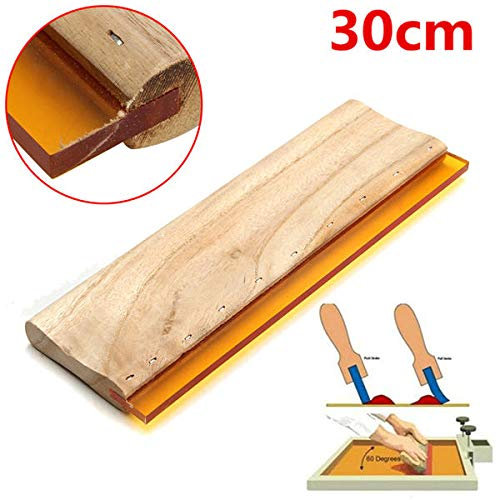 GIlH 30cm 75 Durometer Silk Screen Printing Squeegee Wooden Handle Rubber Blade (Single 12' Silk)