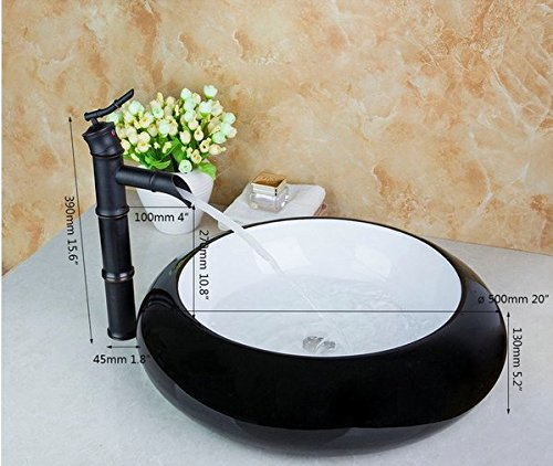 GOWE Black Waterfall Tap Round Wash Basin Counter Hand Paint Color Washbasin Ceramic Sink Mixer Tap Faucet Basin 1