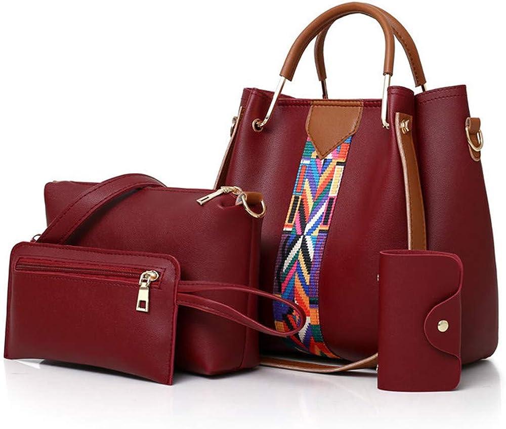 4 Pack Women Handbag Set, Soft PU Leather Top Handle Bags Set, Tote Bag, Shoulder Bags Crossbody Bag Wallet Purse