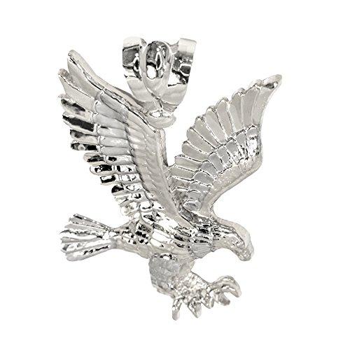 IcedJewels 14K White Gold Eagle NO CZ Stones Diamond Cut Designer Flying Eagle Claws Large (14k Gold Eagle Claws)