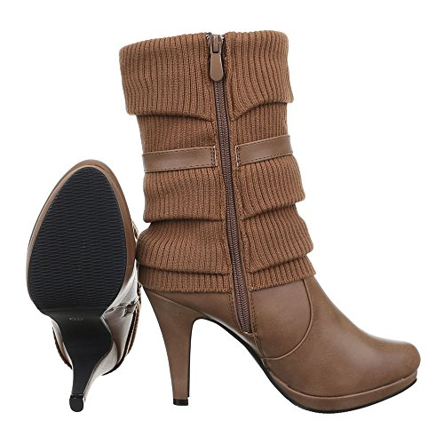 Ital Heel Reißverschluss Stiefel Stilettoabsatz High Schuhe Heels Damen Hellbraun Klassischer Stiefel Design Stiefel Pfennig High rraw7qTE1