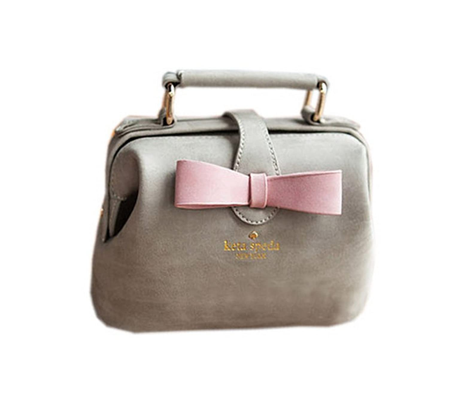 Adorable Gray Frosted Leather Clutch Bow Knot Clutch Bag
