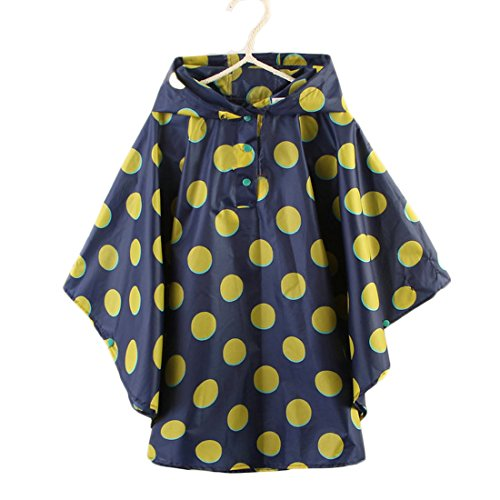 Spring fever Children's Hooded Poncho Eco-Friendly Cute Stylish Lightweight Raincoats Blue Yellow XL (Fit 55.1