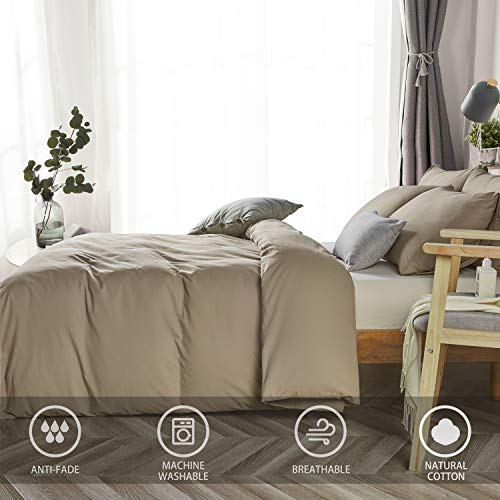 JELLYMONI Khaki 100% Washed Cotton Duvet Cover Set, 3 Pieces Ultra Soft Bedding Set with Zipper Closure. Solid Color Pattern Duvet Cover King Size(No Comforter)