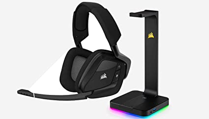 CORSAIR VOID PRO RGB Wireless Gaming Headset - Dolby 7 1 Surround Sound for  PC - Discord Certified - Carbon + RGB Headset Stand