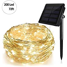 Keynice Solar String Light 72ft 200 Led Ambiance Lighting,Outdoor/Indoor Fairy String Lights for Patio, Wedding, Holiday, Christmas Party Ornament Waterproof - Warm White …