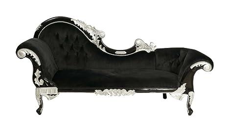 Barroco Muebles barroco Recamiere Plata/Negro Terciopelo ...