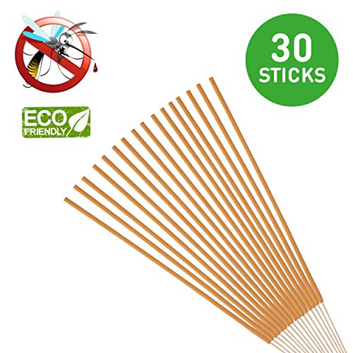Mosquito Sticks, All Natural and DEET Free Insect Repellent, Eco friendly, Non toxic, Bamboo infused with Citronella, Lemongrass & grapefruit peel, for Outdoor Garden Yard and Indoor (Pack of 30)