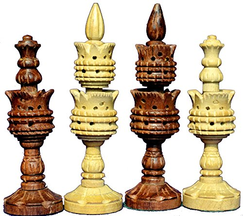The Lotus Series Pipe Shaped Wooden Chess Pieces in Sheesham & Box Wood Chess Art Home